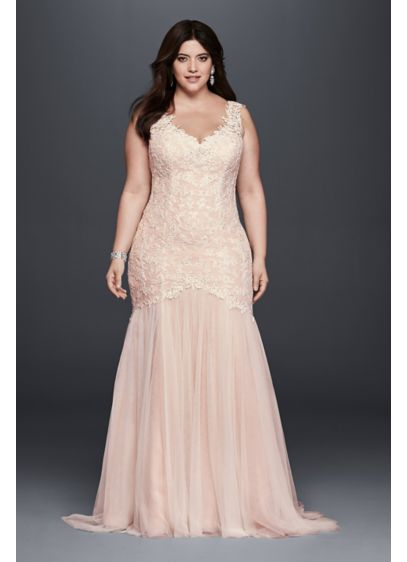Beaded Trumpet Plus Size Wedding Dress | David\'s Bridal
