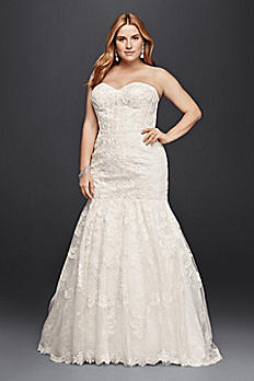 Corset Bodice Mermaid Lace Plus Size Wedding Dress 9SWG755