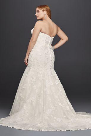 corset bodice mermaid lace plus size wedding dress  david