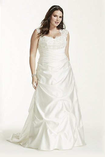 Cap Sleeved Satin Side-Draped A-Line Gown 9T3090