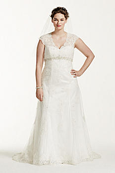 Cap Sleeve Lace Over Satin Plus Size Wedding Dress 9T3299