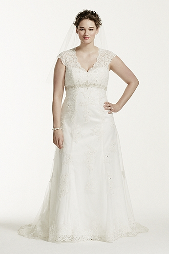 Cap Sleeve Lace Over Satin Gown with Illusion Back 9T3299