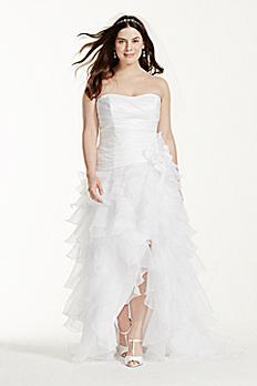 Taffeta High Low Ruffled Plus Size Wedding Dress 9T3505