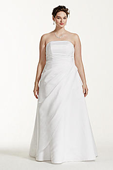 Satin Asymmetrical Skirt Plus Size Wedding Dress 9T8076