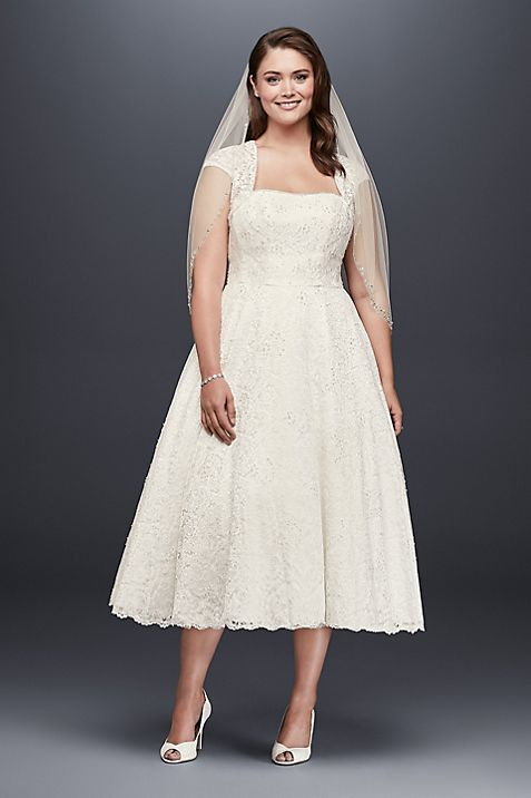 Tea-Length Plus Size Wedding Dress with Jacket   David\'s Bridal