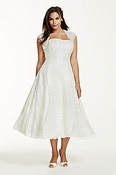 Tea-Length Plus Size Wedding Dress with Shrug 9T9948