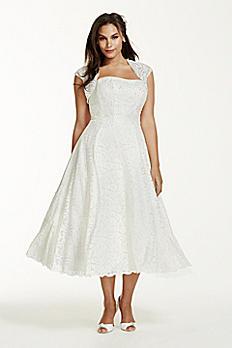 Tea-Length Plus Size Wedding Dress with Shrug 9T9948