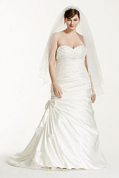 Satin Mermaid Plus Size Wedding Dress with Bow 9V3204