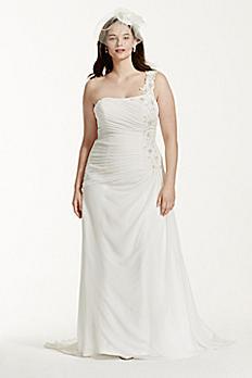 One Shoulder Chiffon Plus Size Wedding Dress 9V3398
