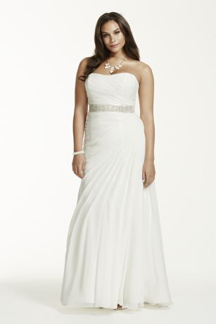 Crinkle chiffon draped plus size wedding dress david 39 s for Davids bridal beach wedding dresses