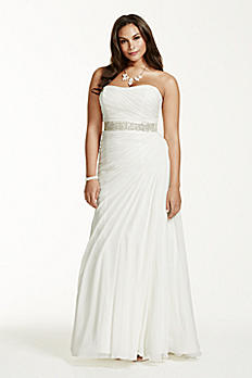 Crinkle Chiffon Draped Plus Size Wedding Dress 9V3540