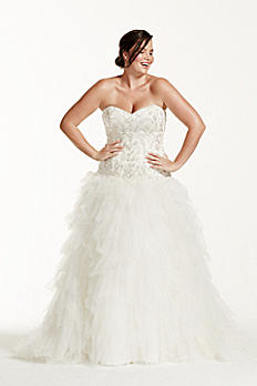 Tulle Plus Size Wedding Dress with Ruffled Skirt 9V3665
