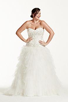 Tulle Plus Size Wedding Dress with Ruffled Skirt 9V3665