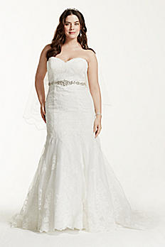 Lace Plus Size Wedding Dress with Scalloped Hem 9V3680