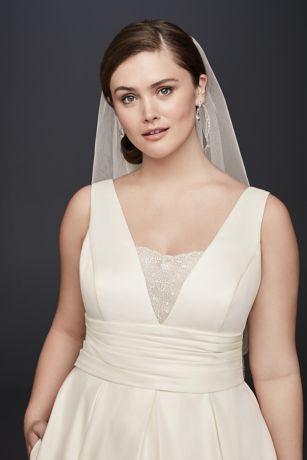 Satin Cummerbund Plus Size Wedding Dress David S Bridal