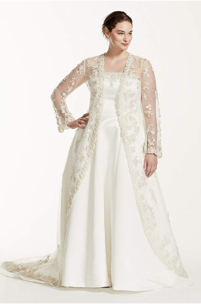 Lace jacket with sheer matte jersey skirt davids bridal for Wedding dress long sleeve lace jacket
