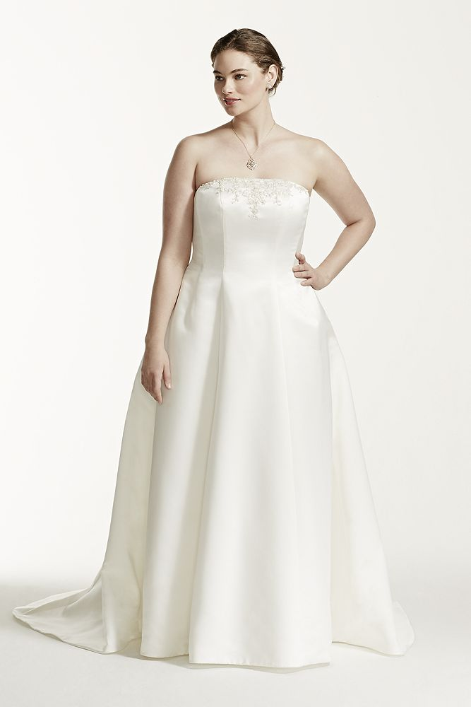 David 39 s bridal plus size wedding dress with beaded lace for Need to sell my wedding dress