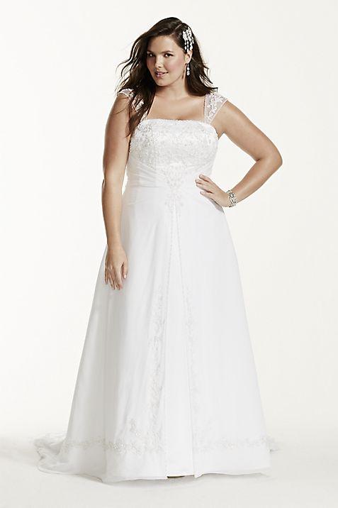 Satin wedding dress with detachable cap sleeves davids bridal junglespirit Choice Image