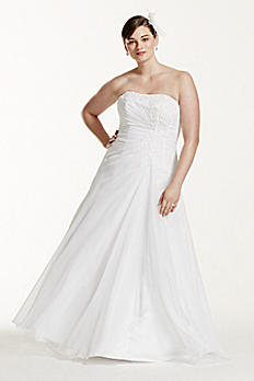 Chiffon Side Drape A-line Plus Size Wedding Dress 9V9409