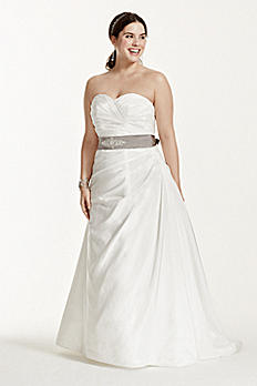 Taffeta Ruched A-Line Plus Size Wedding Dress 9WG3243