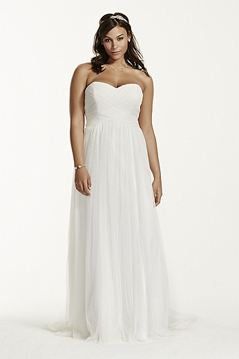 Dot Tulle Empire Waist Soft Wedding Gown 9WG3438