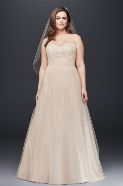 A-Line Beaded Lace Tulle Plus Size Wedding Dress | David's Bridal