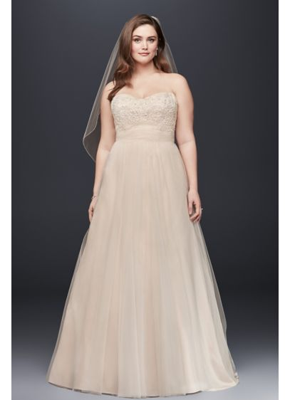 A-Line Beaded Lace Tulle Plus Size Wedding Dress | David\'s Bridal