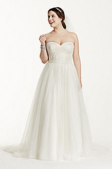 Soft Tulle Lace Corset Plus Size Wedding Dress 9WG3633