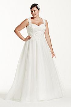 Tulle Plus Size Wedding Dress with Illusion Back 9WG3671