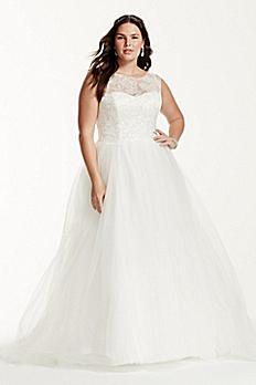 Cap Sleeve Illusion Neck Plus Size Wedding Dress 9WG3672