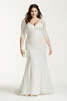 3/4 Sleeve Lace Trumpet Plus Size Wedding Dress 9WG3684