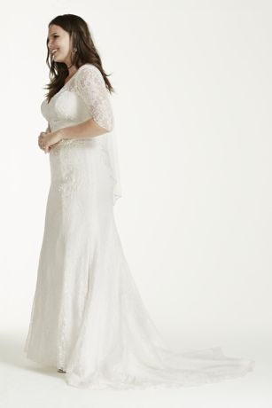 3 4 sleeve lace trumpet plus size wedding dress david 39 s for Plus size trumpet wedding dress with sleeves