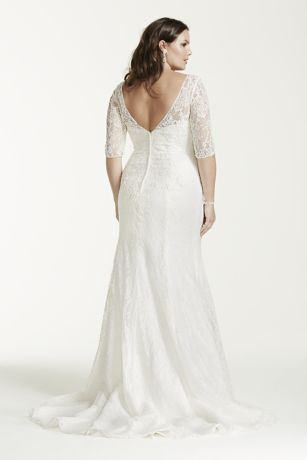 3 4 sleeve v neck lace trumpet wedding dress david 39 s bridal for Plus size trumpet wedding dress with sleeves