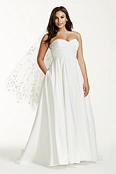 Faille Empire Waist Plus Size Wedding Dress 9WG3707