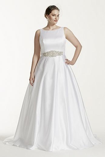 High Neck Open Back A-line Plus Size Wedding Dress 9WG3710
