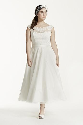 Tulle Tea Length Dress with Illusion Neckline 9WG3721