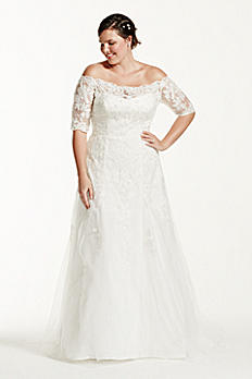 Jewel 3/4 Sleeve Trumpet Plus Size Wedding Dress 9WG3734