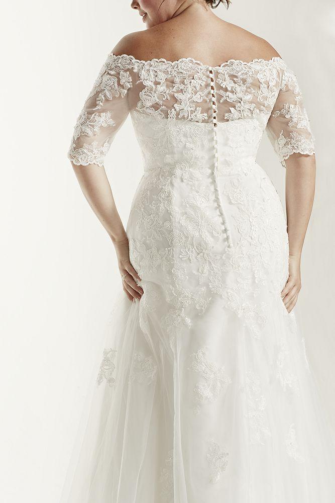 Jewel 3 4 sleeve trumpet plus size wedding dress style for Plus size trumpet wedding dress with sleeves