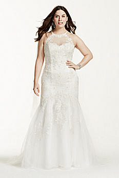 Jewel Trumpet Wedding Dress with Illusion Halter 4XL9WG3735