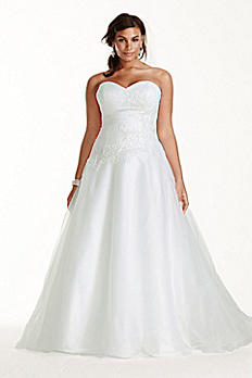 Tulle Plus Size Wedding Dress Lace Applique 9WG3740