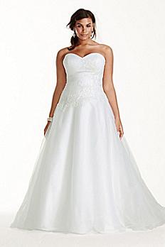 Tulle Plus Size Wedding Dress Lace Applique 9WG3740