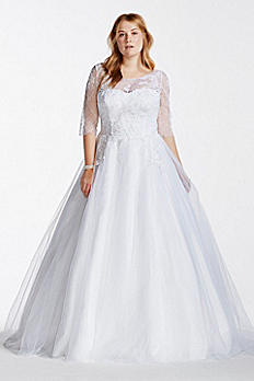Tulle Plus Size Wedding Dress with Illusion Bodice 9WG3742