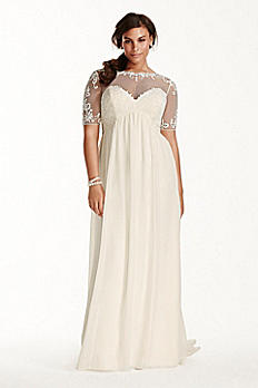 Illusion Sleeve Chiffon Plus Size Wedding Dress 9WG3749