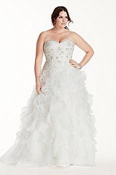 Jewel Organza Plus Size Wedding Dress with Ruffles 9WG3752