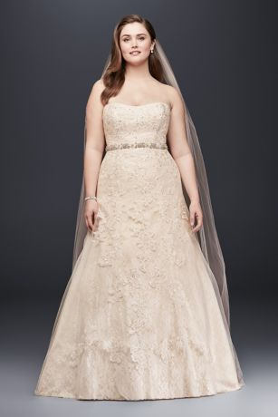 Jewel Lace ALine Beaded Plus Size Wedding Dress Davids Bridal