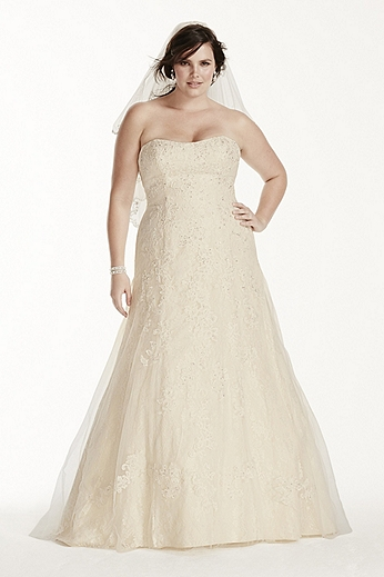 Lace A Line Gown with Beaded Applique 9WG3755