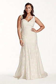 Jewel Scalloped Mermaid Plus Size Wedding Dress 9WG3757
