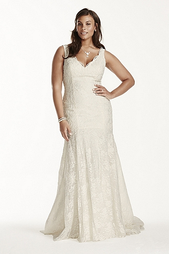 Lace Mermaid Gown with Scalloped Neckline 9WG3757