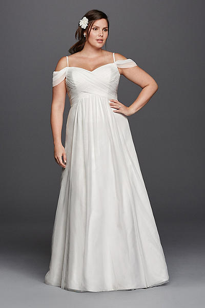 a line plus size wedding dress with swag sleeves 9wg3779