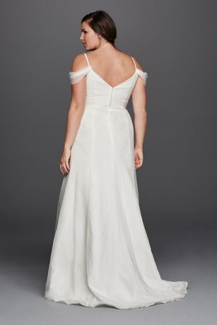 A Line Plus Size Wedding Dress With Swag Sleeves David 39 S